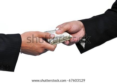 Two businessmen and paying money, horizontal shot. - stock photo