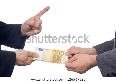 Two businessmen arguing over money - stock photo
