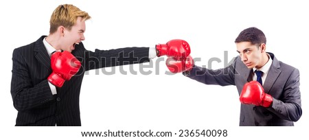 Two businessmen boxing isolated on the white - stock photo