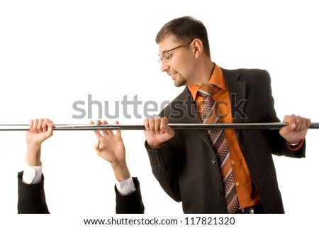 Two businessmen doing pullups, one of them is falling; isolated on white background