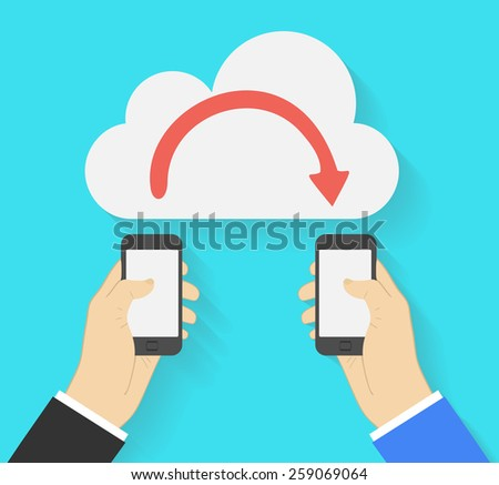 Two businessmen exchange information via smartphones. Mobile phone transferring data from cloud.  illustration  - stock photo