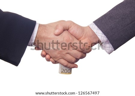 Two businessmen exchanging 200 hundred euros banknote bribing money