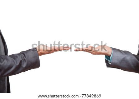 Two businessmen hands with palms up, presenting and showing empty copy space for product or text. Isolated over white background. Presenting concept. - stock photo