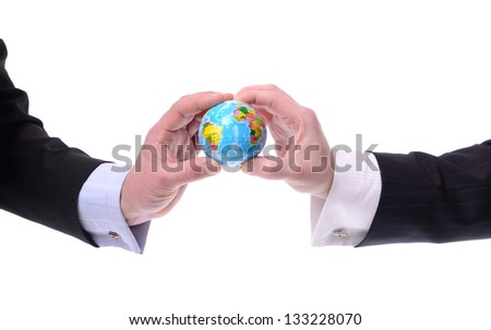 two businessmen holding a globe, concept of global cominications isolated on white - stock photo