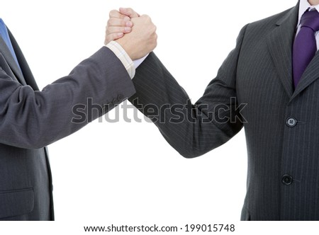 two businessmen in a handshake, isolated on white - stock photo