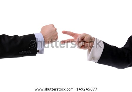 two businessmen making a decision with rock paper scissors isolated on white