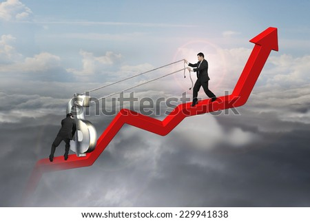 two businessmen moving 3D dollar sign upward on red trend line with sunlight cloudscape background - stock photo