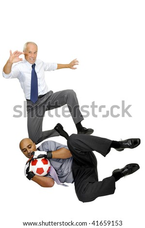 Two businessmen playing soccer isolated in white