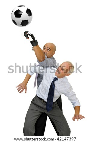 Two businessmen playing soccer isolated in white - stock photo