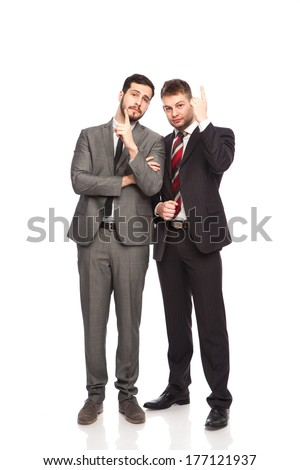 two businessmen pointing with up on white background