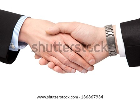 two businessmen shaking hands on an isolated background - stock photo