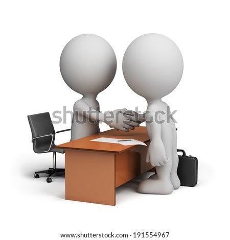 Two businessmen signed a cooperation agreement. 3d image. White background.