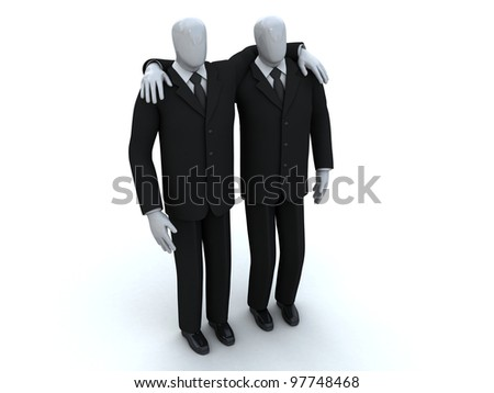 two businessmen stand having embraced
