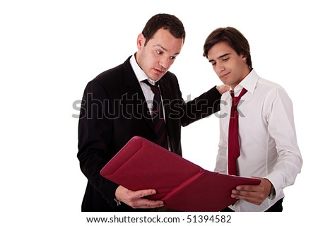 two businessmen talking about work, tired-looking, looking for a document, isolated on white background - stock photo