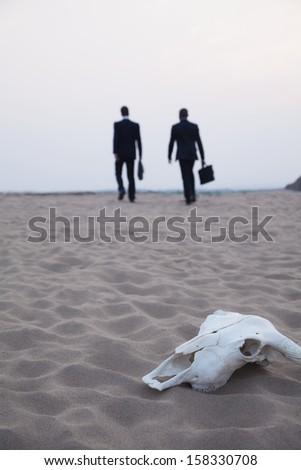 Two businessmen walking away from an animal skull in the desert - stock photo