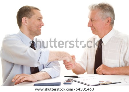 Two businessmen working together on a white background - stock photo