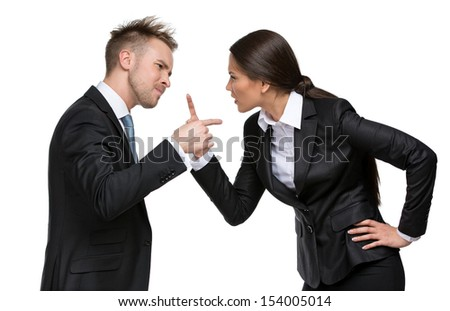 Two businesspeople debate, isolated. Concept of competition and job competitive promotion - stock photo