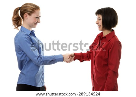 two businesswoman shaking hands at a meeting - stock photo