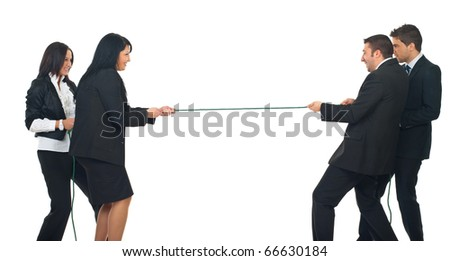 Two businesswomen and two  businessmen playing tug war  isolated on white background - stock photo