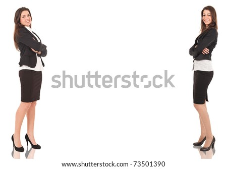 Two businesswomen, copyspace between them. Isolated on white. - stock photo