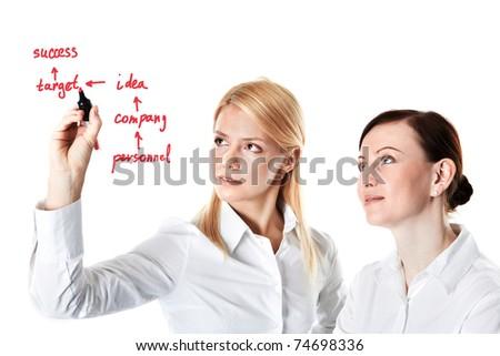 Two businesswomen drawing success scheme - stock photo