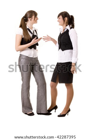 Two businesswomen talking - stock photo
