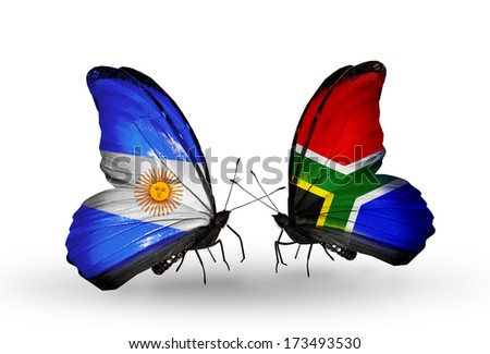 Two butterflies with flags on wings as symbol of relations Argentina and South Africa - stock photo
