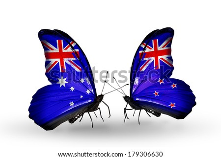 Two butterflies with flags on wings as symbol of relations Australia and New Zealand - stock photo