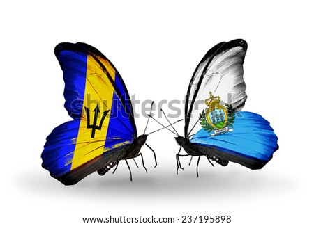 Two butterflies with flags on wings as symbol of relations Barbados and San Marino - stock photo