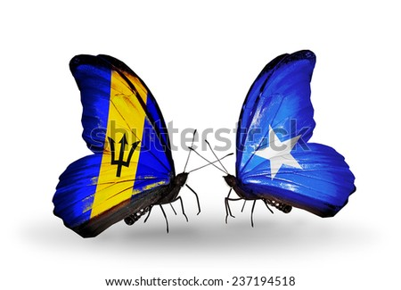 Two butterflies with flags on wings as symbol of relations Barbados and Somalia - stock photo