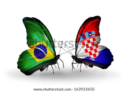 Two butterflies with flags on wings as symbol of relations Brazil and Croatia - stock photo