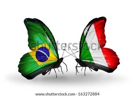 Two butterflies with flags on wings as symbol of relations Brazil and  Italy - stock photo