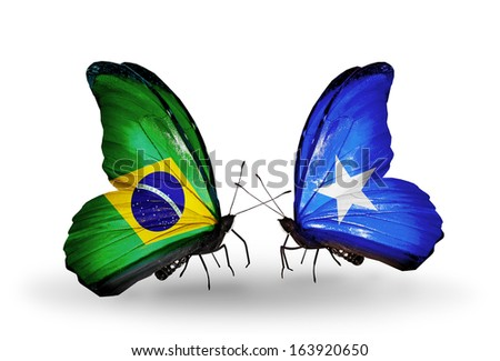 Two butterflies with flags on wings as symbol of relations Brazil and  Somalia - stock photo