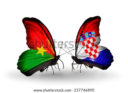 Two butterflies with flags on wings as symbol of relations Burkina Faso and Croatia - stock photo