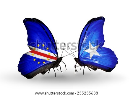 Two butterflies with flags on wings as symbol of relations Cape Verde and Somalia - stock photo