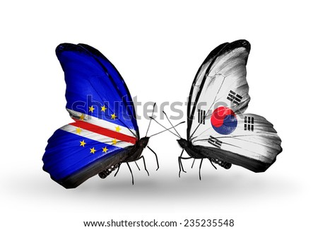 Two butterflies with flags on wings as symbol of relations Cape Verde and South Korea - stock photo