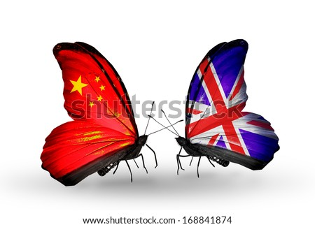 Two butterflies with flags on wings as symbol of relations China and  UK  - stock photo