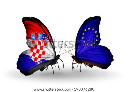 Two butterflies with flags on wings as symbol of relations Croatia and European Union - stock photo
