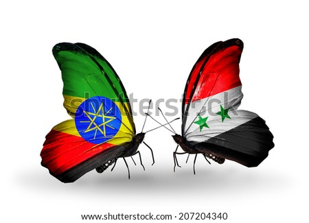 Two butterflies with flags on wings as symbol of relations Ethiopia and Syria - stock photo