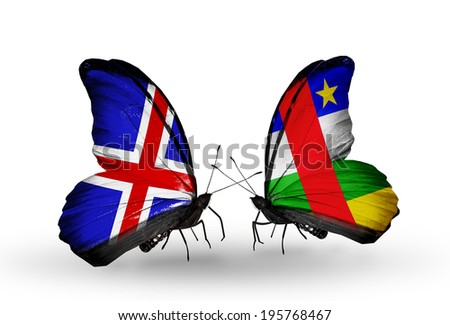 Two butterflies with flags on wings as symbol of relations   Iceland and Central African Republic