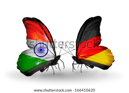 Two butterflies with flags on wings as symbol of relations India and Germany - stock photo