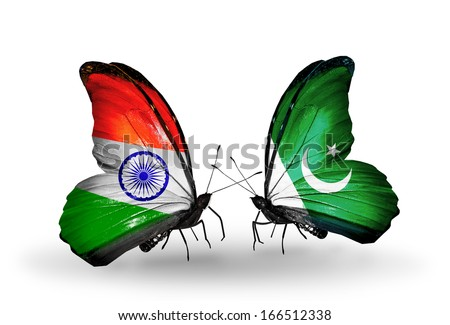 Two butterflies with flags on wings as symbol of relations India and Pakistan - stock photo