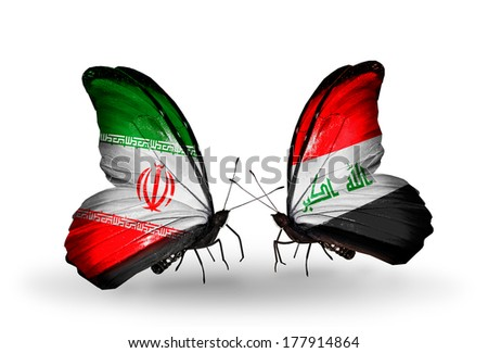 Two butterflies with flags on wings as symbol of relations Iran and Iraq - stock photo