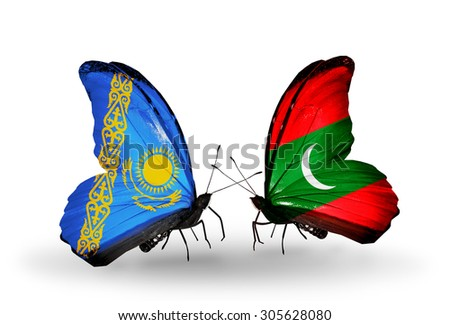 Two butterflies with flags on wings as symbol of relations Kazakhstan and Maldives - stock photo