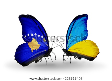Two butterflies with flags on wings as symbol of relations Kosovo and Ukraine - stock photo