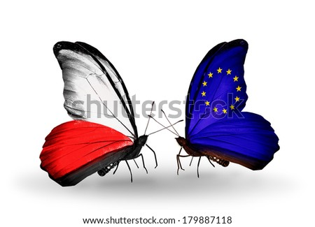 Two butterflies with flags on wings as symbol of relations Poland and European Union - stock photo