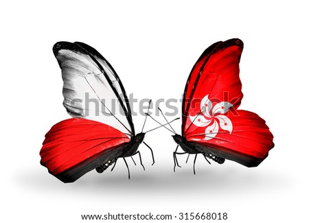Two butterflies with flags on wings as symbol of relations Poland and Hong Kong - stock photo