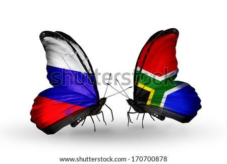 Two butterflies with flags on wings as symbol of relations Russia and South Africa - stock photo