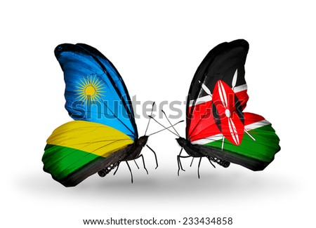 Two butterflies with flags on wings as symbol of relations Rwanda and Kenya - stock photo