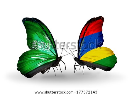 Two butterflies with flags on wings as symbol of relations Saudi Arabia and Mauritius